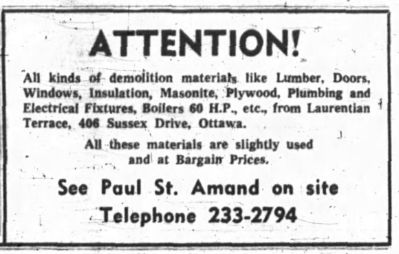 Everything must go. Source: Ottawa Journal, November 20, 1964, Page 19.