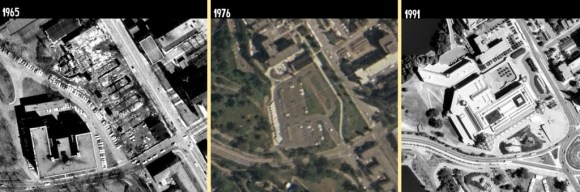Although I'd have liked the 1958 aerials to have captured the parcel, it did not. A comparison between 1965 (when Laurentian Terrace was being demolished), 1976 (when the much-wanted tour bus parking lot was present), and 1991, shortly after the completion of the National Gallery. Images: geoOttawa.