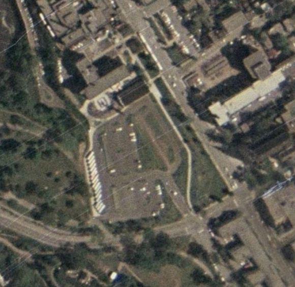 By 1976, the small park had been reduced in size. Image: geoOttawa, 1976 aerial.