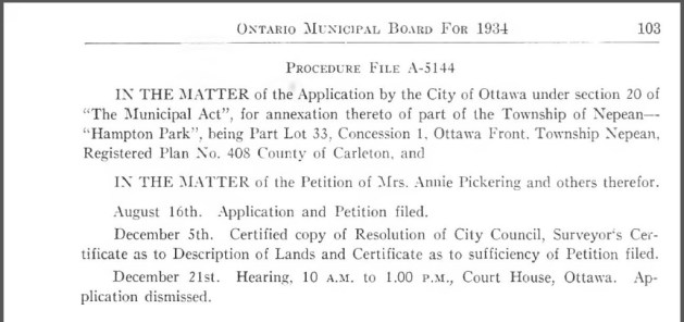 The Ontario Municipal Board's Annual Report was not long on detail about the whole affair. This attempt at annexation was one of only two sought after that year in the province. Source: Ontario Municipal Board, Annual Report. Province of Ontario, Sessional Papers, Vol. LXVII, Part V. Session 1935, Report No. 24. (Published 1936).