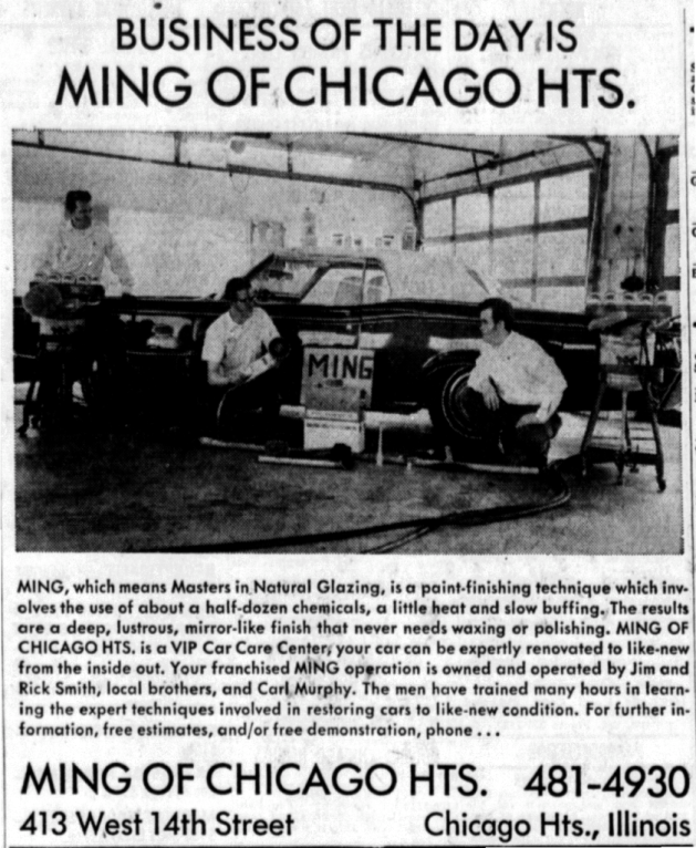A Ming Ad from another city. Source: Cleveland-Homewood-Flossmoor Star, May 23, 1971, Page 21.
