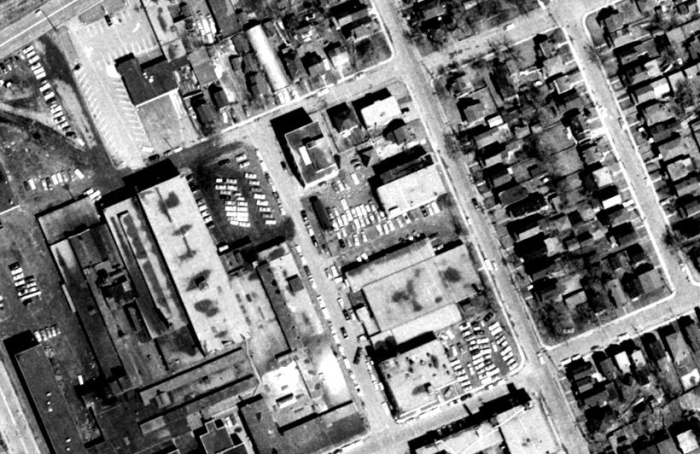 The Casablanca, in Hintonburg's industrial context. Source: geoOttawa, 1965 Aerials.