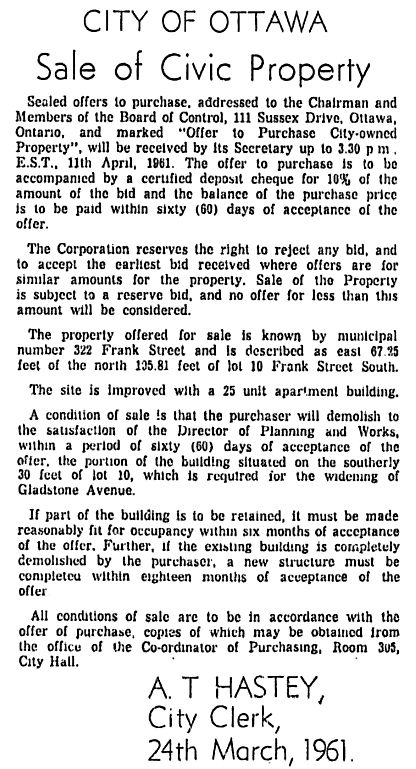 The City's sale of the expropriated apartment. Source: Ottawa Citizen, March 27, 1961, p. 41.