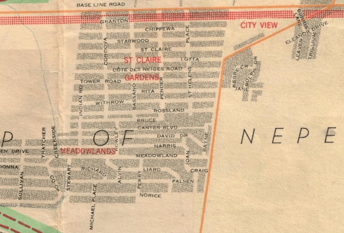 "Detail of the area, as it stood in 1957. Image: Federal District Commission, ""The National Capital - Ottawa & Environs"" July 1957."
