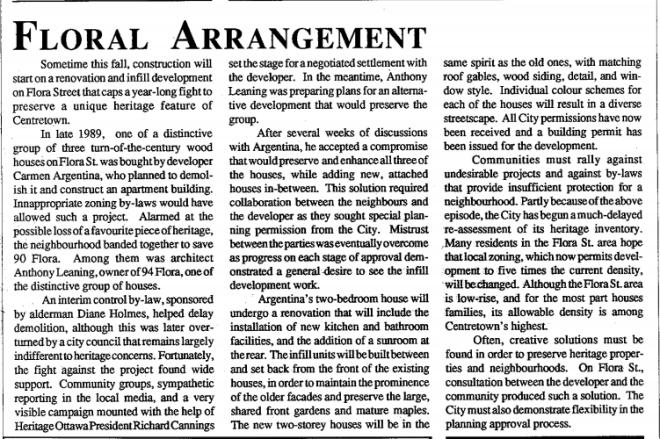 A success. Source: Heritage Ottawa Newsletter, Vol. 18, No. 4 (Winter 1991), p. 4.
