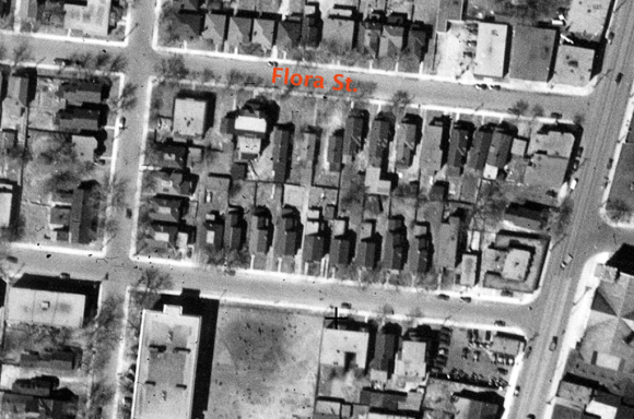 The three cottages, as they appeared from above in 1933. Image: NAPL A4570-60 May 5, 1933.