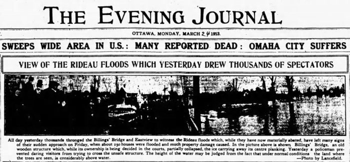 The Rideau Floods brought around thousands of gawkers. Source: Ottawa Journal, March 24, 1913, p. 1.