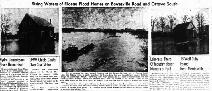 Both the Journal and the Citizen were run with numerous pictures of the floods. Source: Ottawa Journal, April 9, 1947, p. 16.