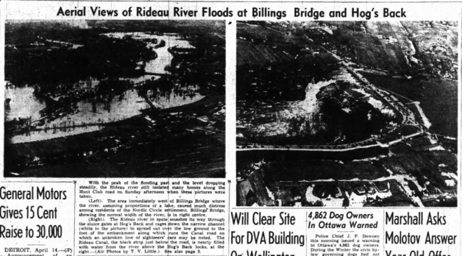 As the Nordic Circle was arguably the hardest hit neighbourhood, it was also the last to see the waters subside. Source: Ottawa Journal, April 14, 1947, p. 1.