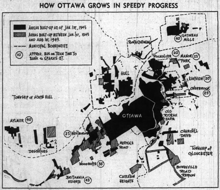 Suburban development in Ottawa. As was the case in most of North America, housing moved out to the urban fringe. This map depicts areas built up between 1945 and 1949. Source: Ottawa Journal, August 12, 1949, p. 16.