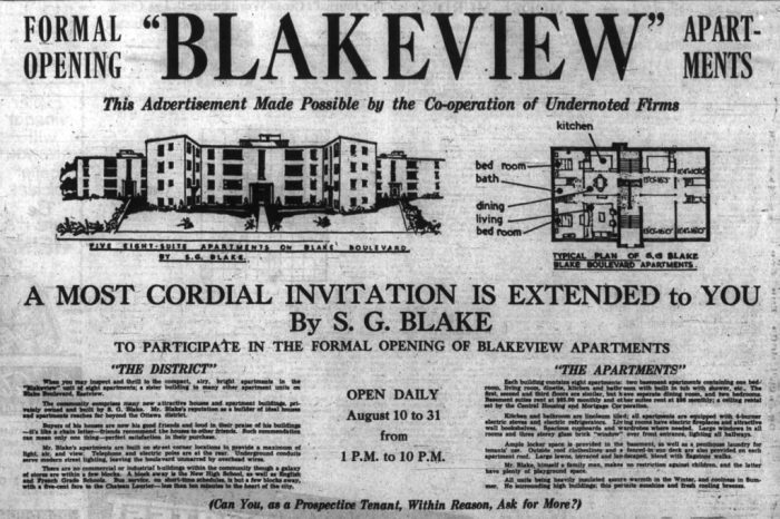 Ad for the Blakeview Apartments. Source: Ottawa Journal, August 4, 1950, p. 28.