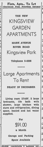 The Kingsview Park Apartments, being all large two-bedroom units, were rented at $91 per month. Source: Ottawa Citizen, December 9, 1950, p. 26.