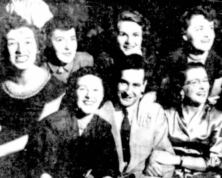 Marius Vachon poses with some of his tenants at a party he threw for them in 1952. Source: Ottawa Citizen, January 2, 1952, p. 12.