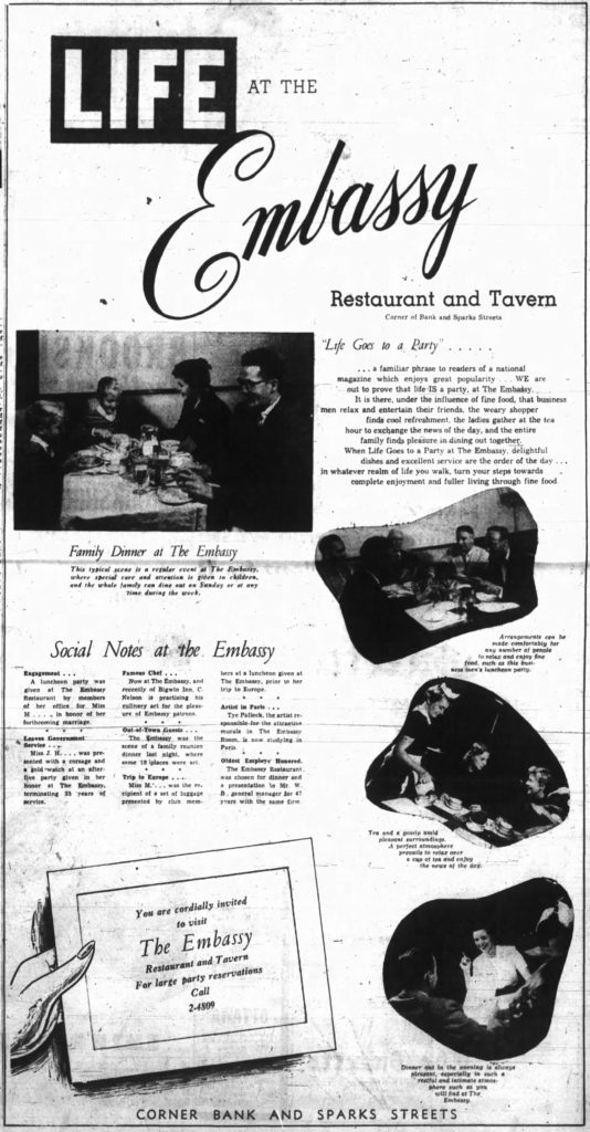 Advertisement for The Embassy Restaurant run following its soft launch. Source: Ottawa Journal, October 6, 1953, p. 10.