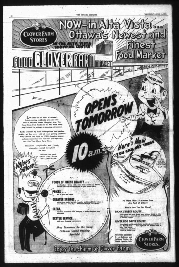 By the time the Alta Vista Shopping Centre was poised to open, Palef had joined the grocery retailing federation of Clover Farm Stores. Source: Ottawa Journal, April 11, 1956, p. 36.