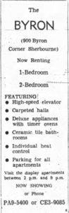 Ad for The Byron. Source: Ottawa Journal, November 5, 1962.