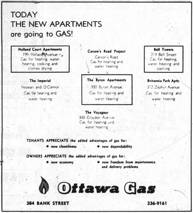 """""""It's a Gas!"""" Residents of the Byron Apartments were kept toasty in Ottawa's frigid winters, thanks to natural gas. Source: Ottawa Journal, July 30, 1963, p. 42."""