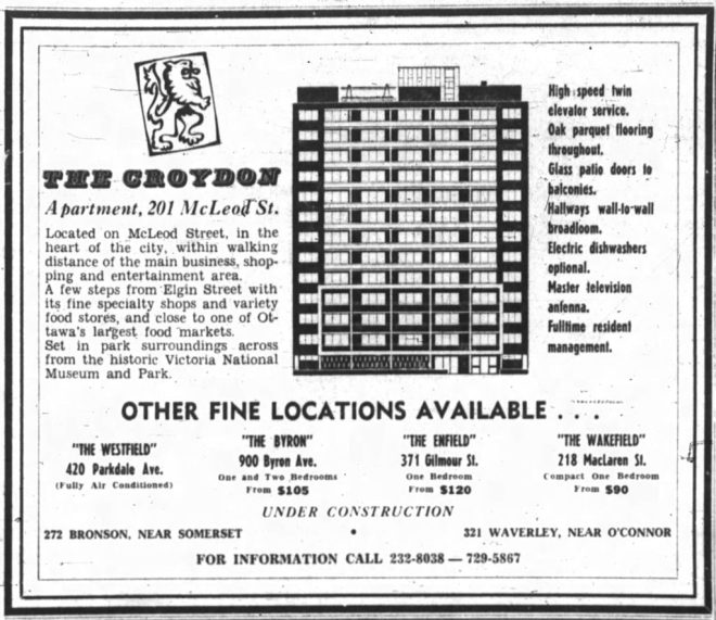 Advertisement for The Croydon, as the dark clouds were gathering. Note the two apartments that are under construction. Source: Ottawa Journal, February 15, 1964, p. 25.