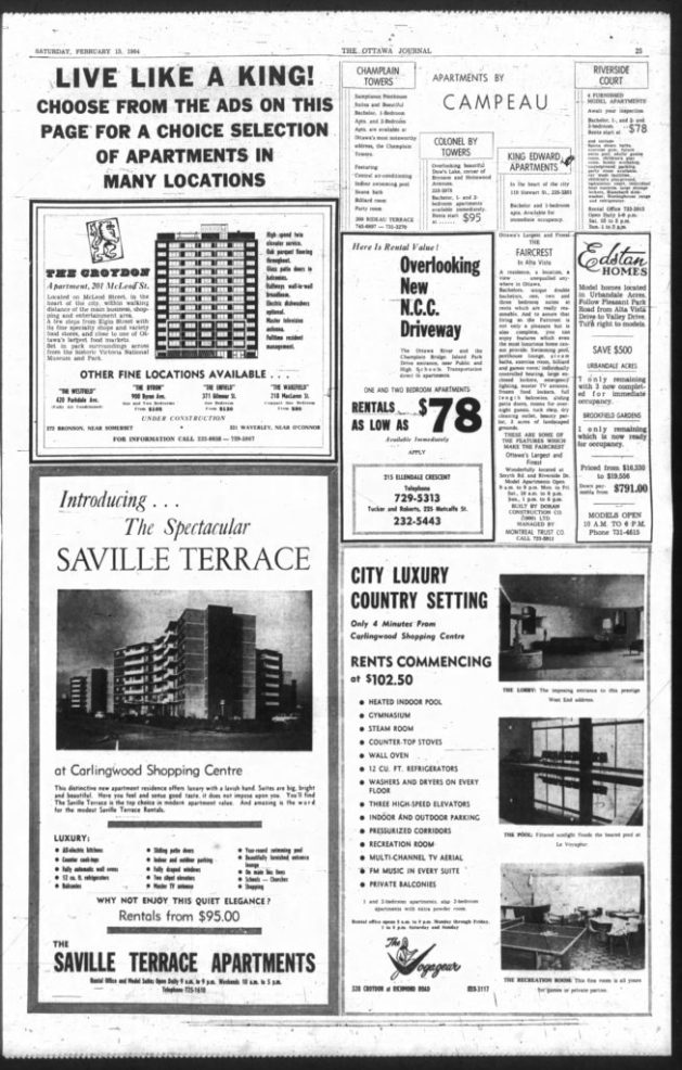 Most of this page's square inches would experience bankruptcy within weeks of its appearance. Matka, who built the Voyageur and Saville commenced with proceedings at the end of April and Witt did so in the second half of May. Source: Ottawa Journal, February 15, 1964, p. 25.