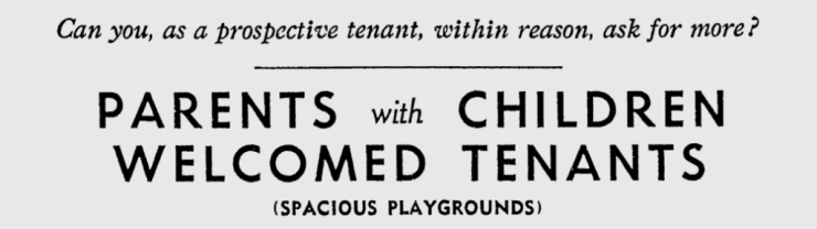 Sam Blake was up-front about welcoming families with children into his apartments. Source: Ottawa Citizen, August 2, 1950, p. 17.