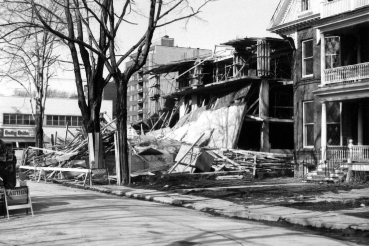 """Construction of the Bonaventure Apartments did not proceed without some difficulty. While under construction, on March 31, 1966, there was a partial collapse. Source: Robert Smythe. """"The Minto Park Disaster,"""" URBSite (November 23, 2013)."""