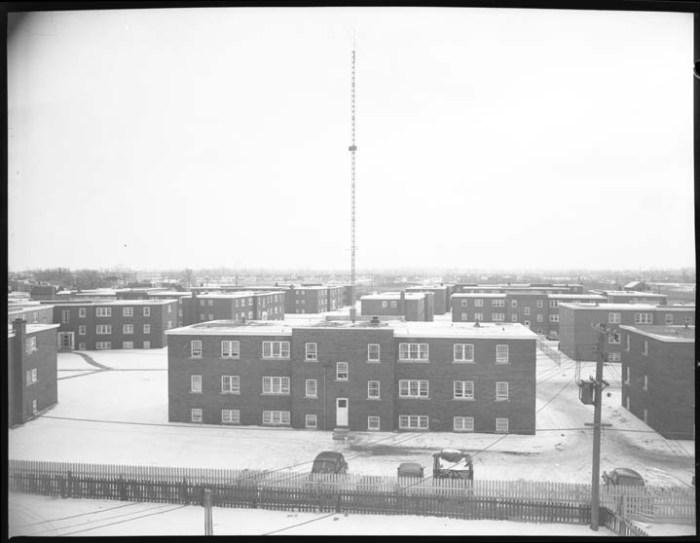 Eastwood Park Apartments, looking south from the roof of 368 Blake. Image: City of Ottawa Archives, CA035833. December 12, 1955.