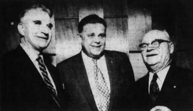Eastview Mayor Gordon Lavergne, Sam Blake (then President, Eastview Chamber of Commerce), and William D'Aoust, 1958. Source: Ottawa Journal, March 25, 1958, p. 5.