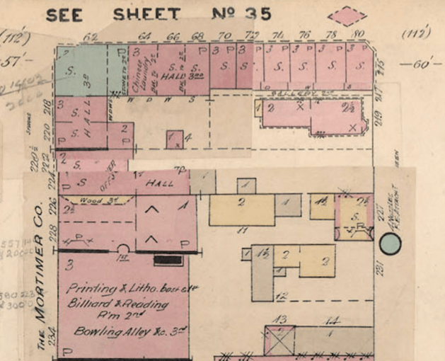 The same corner in 1898. Image: Charles E. Goad. Insurance Plan of the City of Ottawa Canada and Adjoining Suburbs and Lumber Districts, 1888, Revised to 1898 and Lumber Districts to 1901. Montréal: Chas. E. Goad.