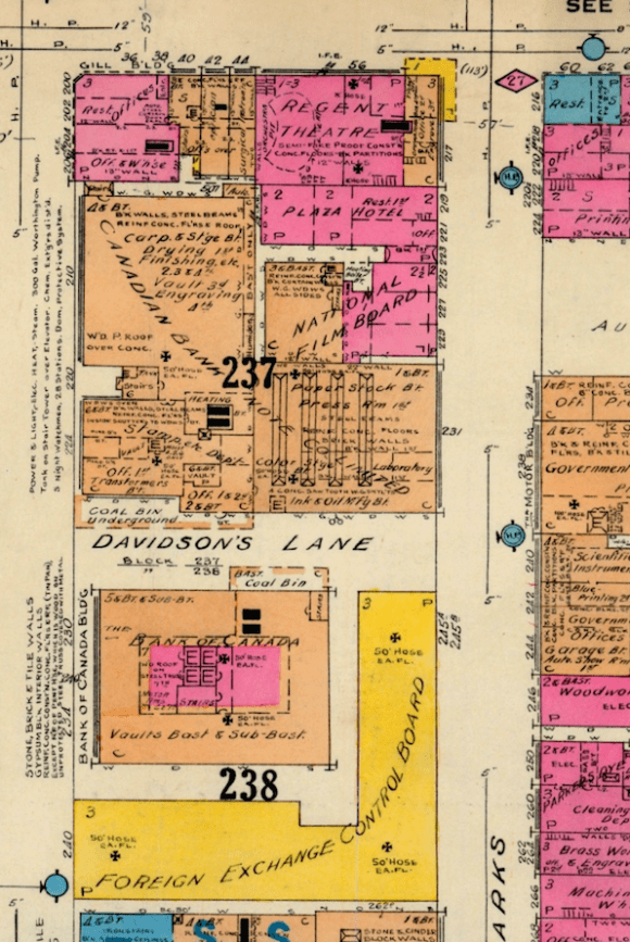 Karson's Restaurant, at the corner, was located a quick walk from the Foreign Exchange Control Board. Source: Charles E. Goad. Fire Atlas of Ottawa, 1925 (1948 revision), Plate 108.