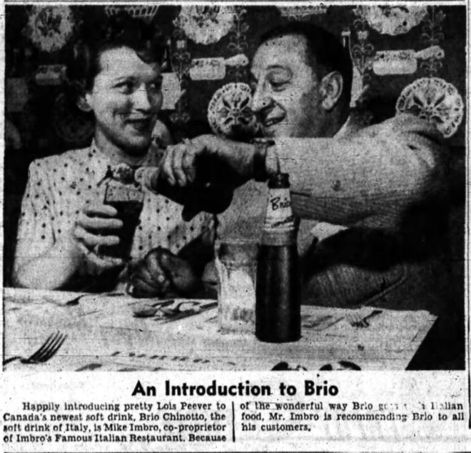 Mike Imbro, introducing Brio to Lois Peever. Source: Ottawa Journal, March 23, 1957, p. 28.