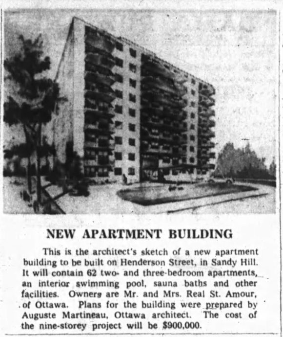 Martineau's sketch of the new apartment was published in the local papers. Source: Ottawa Journal, March 21, 1964, p. 30.