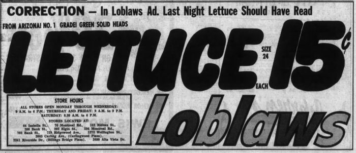 Loblaws 1960s redesign. Source: Ottawa Journal, February 13, 1969, p. 9.