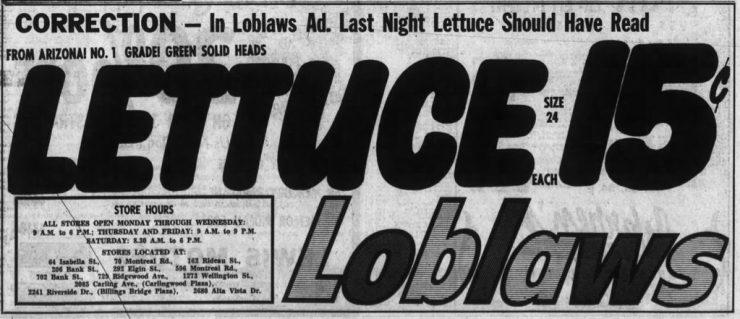 Loblaws 1960s redesign. Source: Ottawa Journal, February 13, 1969, p. 9.