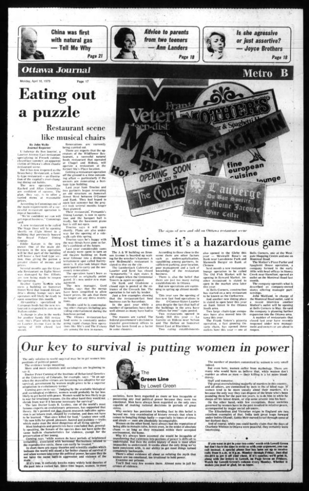Even at the best of times, the restaurant game can be a tough slog. In the late 1970s, it was brutal. Source: Ottawa Journal, April 16, 1979, p. 17.