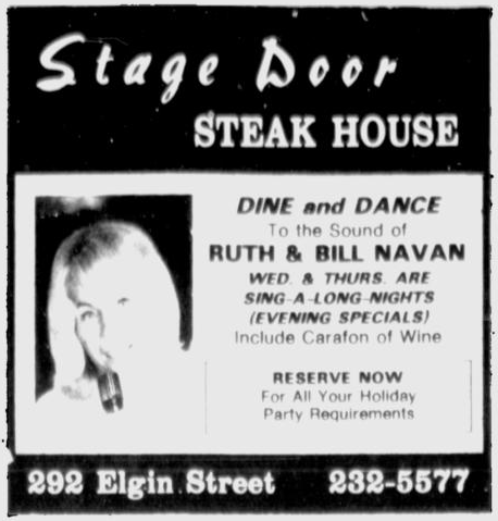 Karam retained the entertainment at The Stage Door. Source: Ottawa Citizen, November 29, 1979, p. 56.