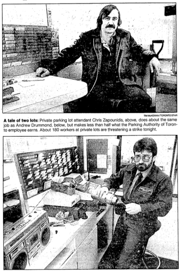 A Tale of Two Attendants. The strike ended on March 23, but Citipark's attendants did not come out much more ahead than when they went in. Source: Toronto Star, February 27, 1986, p. .