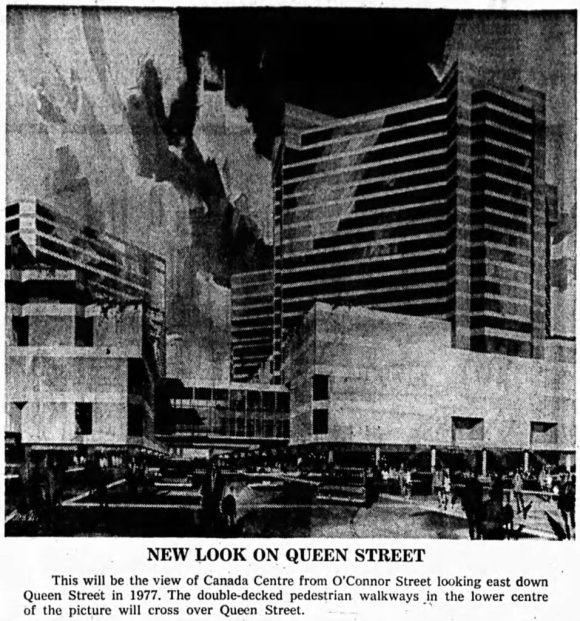 Concept sketch of City Parking's Canada Centre development. Source: Ottawa Journal, March 7, 1973, p. 4.