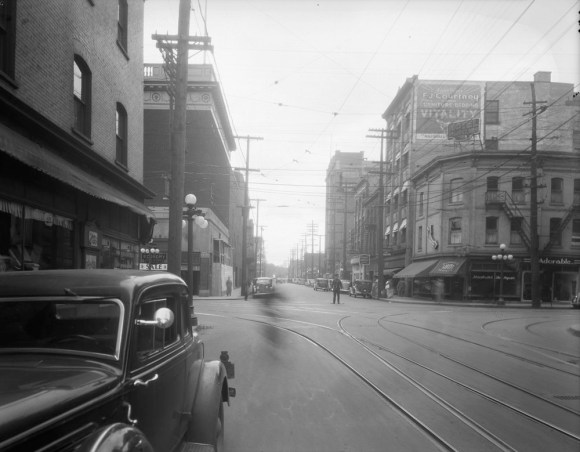 Queen Street, looking east at Bank. Peter Karson's ambitions for the block extended around the corner to the Belle Claire Hotel. Image: Public Works / LAC Accession 1979-140 NPC Box RV1-036 Series CP-683.