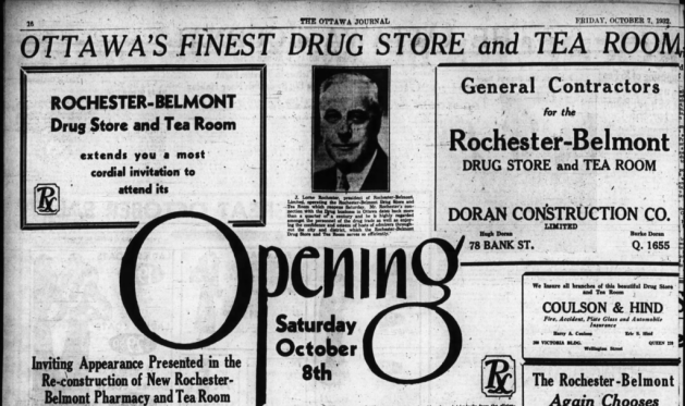 Rochester quickly picked up the pieces and reopened his Rochester-Belmont Pharmacy. Source: Ottawa Journal, October 7, 1932, p. 16.