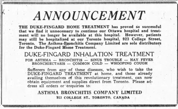 The Duke-Fingard Hospital closed in 1946. Source: Ottawa Journal, March 29, 1946, p. 13.