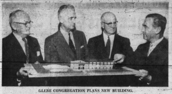 John Defries explains his design for Glebe United's addition, 1958. Source: Ottawa Journal, January 10, 1958, p. 4.