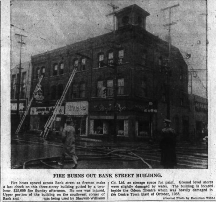 The corner has seen its share of fires over the years. Source: Ottawa Journal, April 25, 1960, p. 3.
