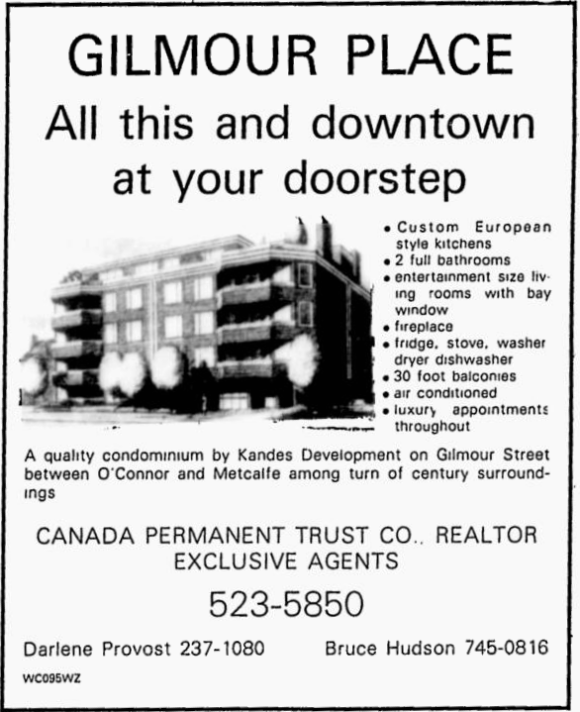 Prime location for both Gilmour and Metcalfe places. Source: Ottawa Citizen, August 26, 1983, p. 93.