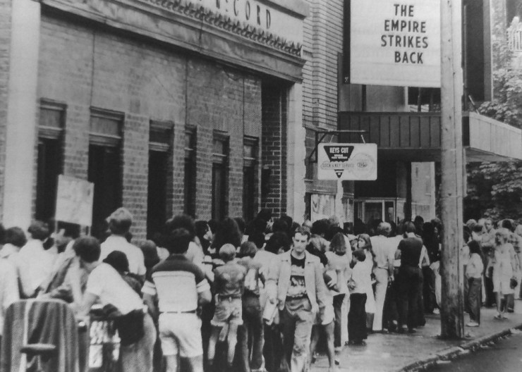 One example of a movie with a similar budget in 1980 was the much-anticipated Empire Strikes Back. Excited Ottawans line up outside the Somerset Theatre to learn about Luke Skywalker's paternity. Source: Ottawa Citizen.
