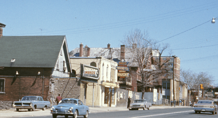 Detail of a CMHC photograph taken from the corner of Rideau and Friel, April 1968. Image: CMHC 1968-395, April 29, 1968.