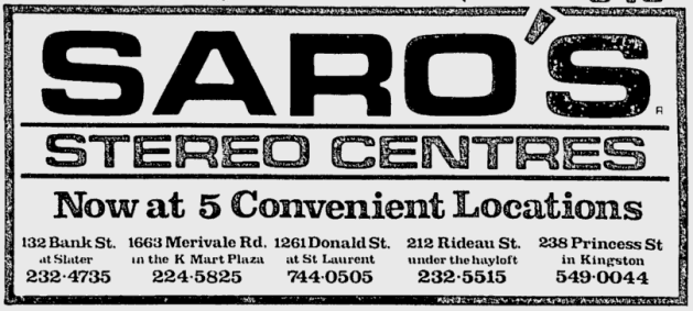 Saro's in the glory days. A chain of five outlets from Ottawa to Kingtson. Source: Ottawa Citizen, September 26, 1986, p. B5.