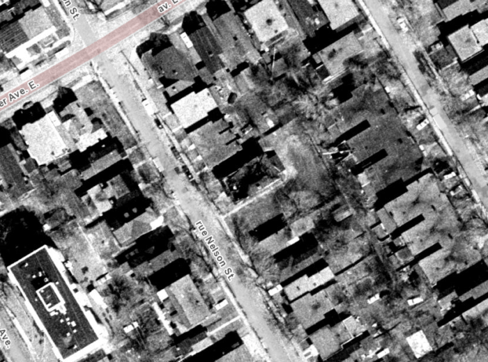 The burnt-out shell of the former St. Paul's Lutheran School was visible in the 1965 aerial photos, taken April 22, just one week after the fire. Image: geoOttawa.