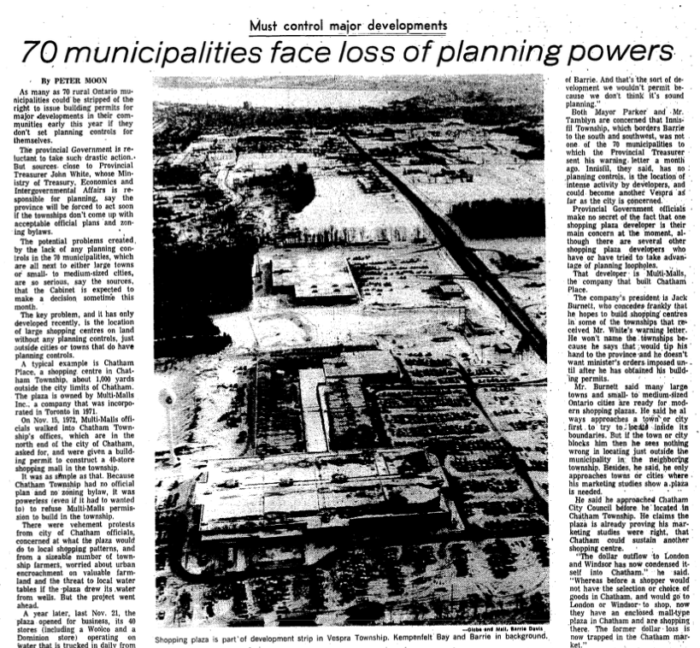 Multi-Malls was the source of quite a reaction. Source: The Globe and Mail, January 1, 1974, p. 25.
