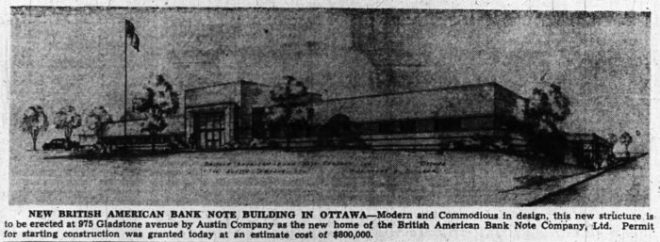 The new British American Bank Note headquarters. Source: Ottawa Journal, July 22, 1946, p. 9.