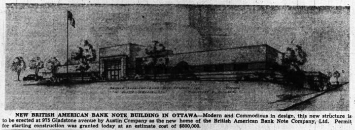 The new British American Bank Note headquarters. Source: Ottawa Journal, July 22, 1946, p. 9.